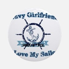Navy girlfriend Round Ornament
