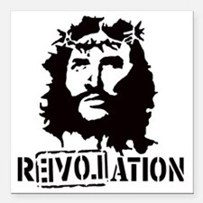 "Jesus Christ Revolation Square Car Magnet 3"" x 3"""