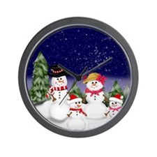 Snowman Family Scenev2 Wall Clock
