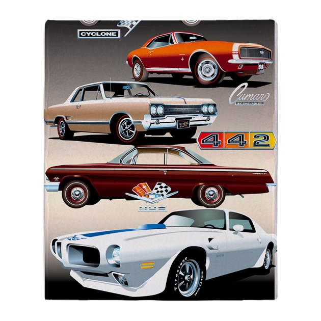 1960s muscle cars throw blanket by admin cp72236023 for Kitchen colors with white cabinets with muscle car stickers