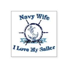 "Navy wife Square Sticker 3"" x 3"""