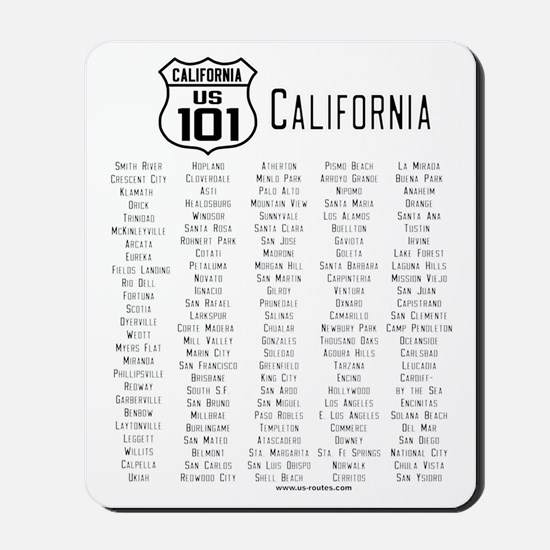 US Route 101 California Cities Mousepad