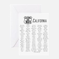US Route 101 California Cities Greeting Card
