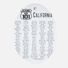 US Route 101 California Cities Oval Ornament