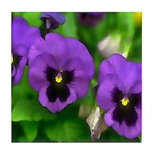Purple Pansy Faces Tile Coaster