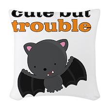 Bat Cute But Trouble Woven Throw Pillow