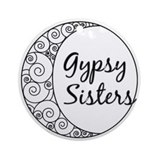 Gypsy Sisters White Logo Round Ornament