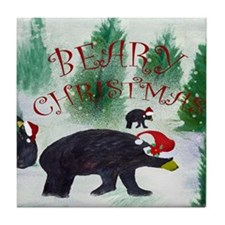 Beary Christmas Tile Coaster