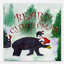 "Beary Christmas Square Car Magnet 3"" x 3"""