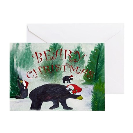 Black Bear Christmas Greeting Cards Cafepress