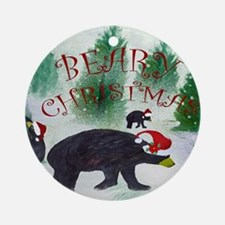 Beary Christmas Round Ornament