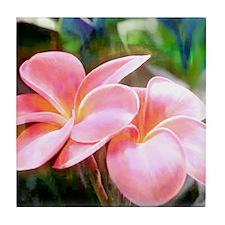 Tropical Pink Plumeria Tile Coaster