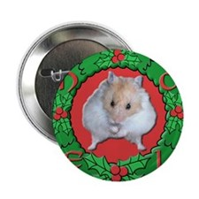 "Hamster Noel Wreath 2.25"" Button"