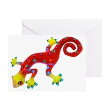 Crazy Colorful Red Lizard  with Spot Greeting Card