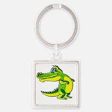 Flirting Crocodile Square Keychain