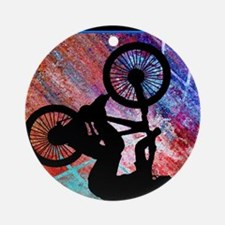 BMX on Rusty Grunge Round Ornament