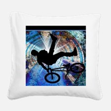 BMX in a Grunge Tunnel Square Canvas Pillow