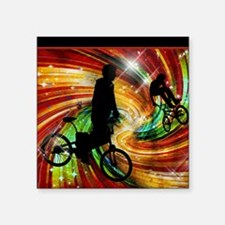 "BMXers in Red and Orange Gr Square Sticker 3"" x 3"""