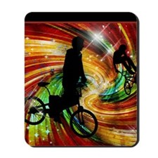 BMXers in Red and Orange Grunge Swirls Mousepad