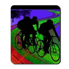 Cycling Trio on Ribbon Road Mousepad