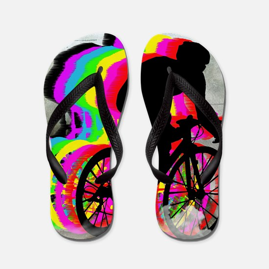 Cyclists Cycling in the Clouds Flip Flops