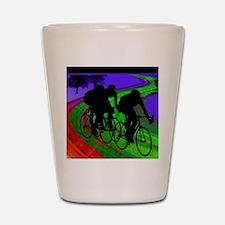 Cycling Trio on Ribbon Road Shot Glass