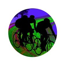 """Cycling Trio on Ribbon Road 3.5"""" Button"""