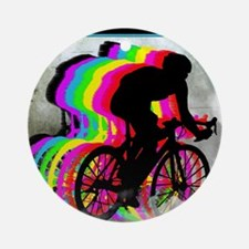Cyclists Cycling in the Clouds Round Ornament