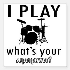 """I play Drums Square Car Magnet 3"""" x 3"""""""