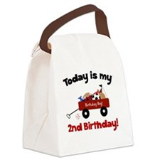 Little Red Wagon 2nd Birthday Canvas Lunch Bag