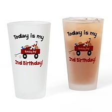 Little Red Wagon 2nd Birthday Drinking Glass