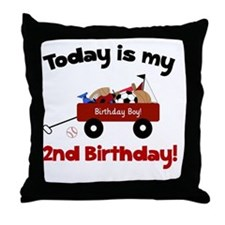 Little Red Wagon 2nd Birthday Throw Pillow