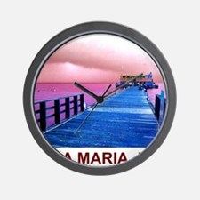 Pink and blue Rod & Reel Pier Wall Clock