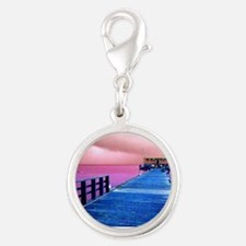 Pink and blue Rod & Reel Pier Silver Round Charm