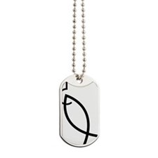 Hooked ichthys fish Dog Tags