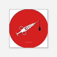 """Hypo-Derrick (White/Red) Square Sticker 3"""" x 3"""""""