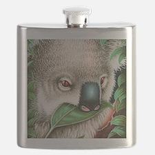 Koala Munching Panel Print Flask
