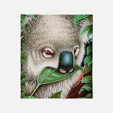 Koala Munching Panel Print Throw Blanket