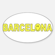 Barcelona, Spain Smiley Face Oval Decal