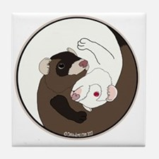 Yen-Yang Ferrets Tile Coaster