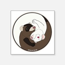 "Yen-Yang Ferrets Square Sticker 3"" x 3"""