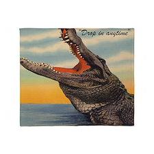 Vintage Alligator Postcard Pillow Throw Blanket