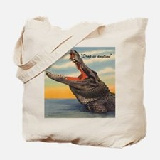 Vintage Alligator Postcard Pillow Tote Bag