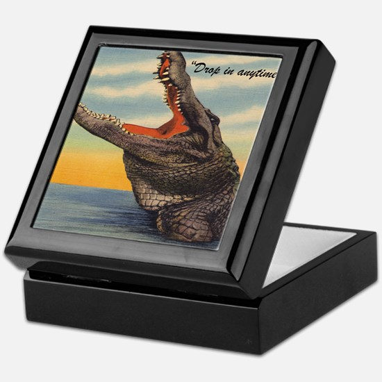 Vintage Alligator Postcard Pillow Keepsake Box