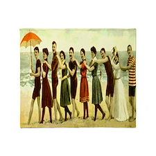 Vintage Beach LIne Dance Throw Blanket
