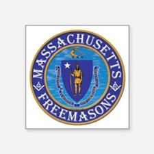 """Massachusetts Masons Square Sticker 3"""" x 3"""""""