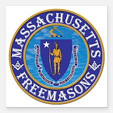 "Massachusetts Masons Square Car Magnet 3"" x 3"""