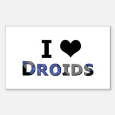 I Love Droids Rectangle Decal