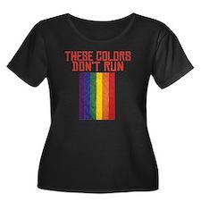 CRAZYFIS Women's Plus Size Dark Scoop Neck T-Shirt