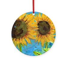 Sunflower Friends Round Ornament
